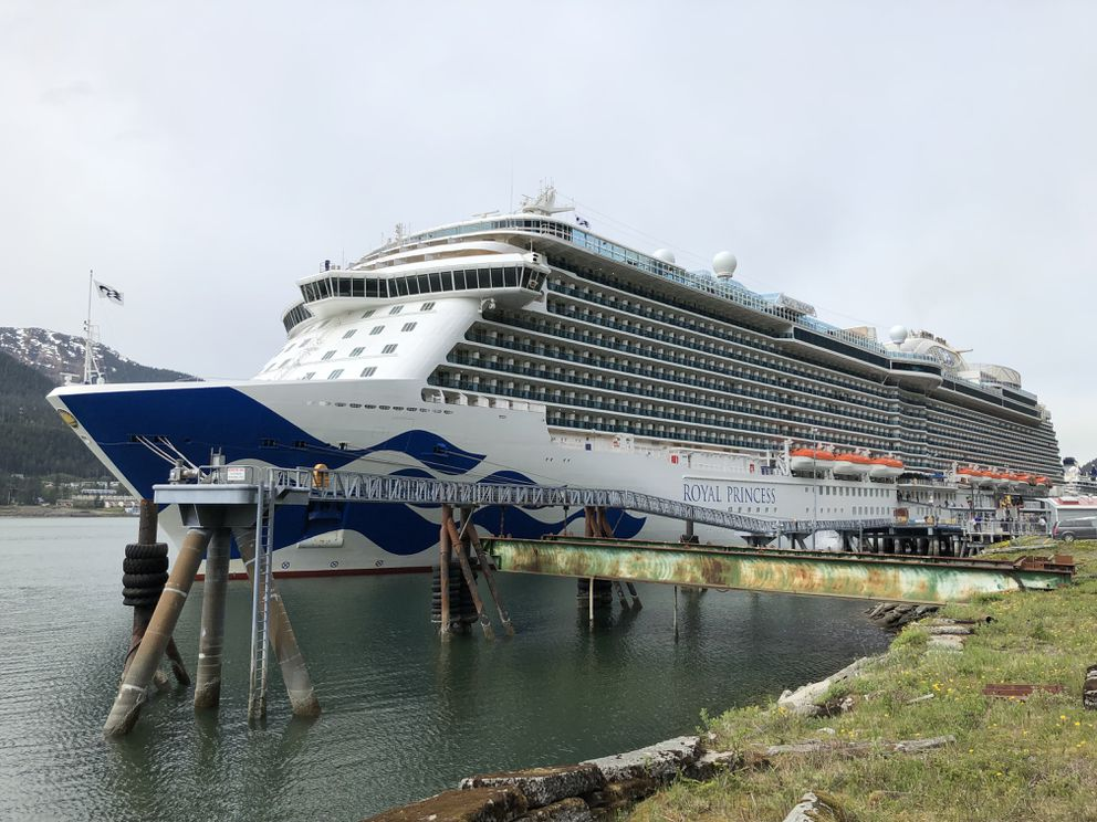 The Princess Cruise Lines cruise ship Royal Princess is seen in Juneau on Tuesday, May 14, 2019, during the ship's inaugural trip to Alaska. It sailed from Ketchikan the day after the fatal plane collision. (James Brooks / ADN)