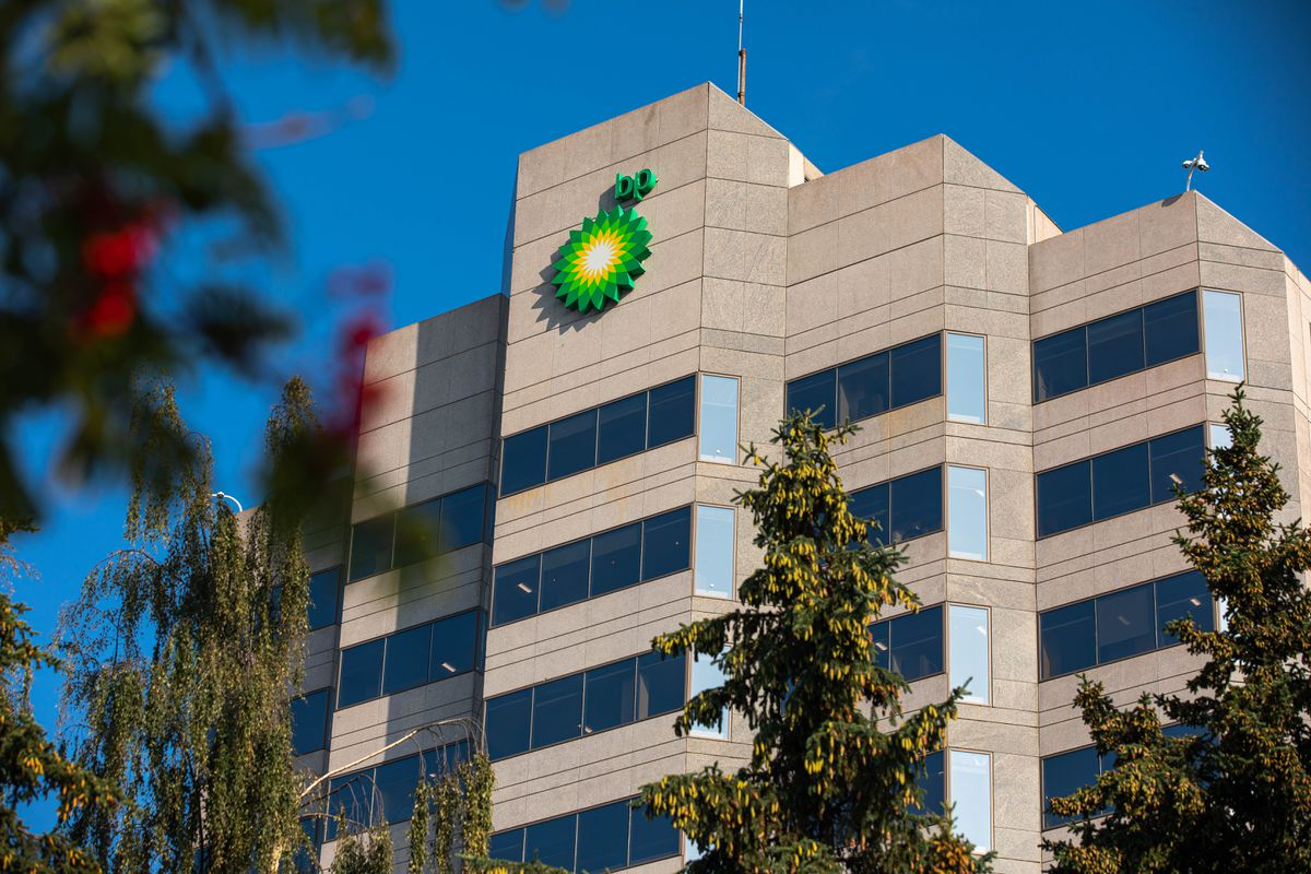The BP building in Midtown Anchorage on Aug. 27, 2019. BP plans to sell all of its Alaska assets to Hilcorp Alaska for $5.6 billion. (Loren Holmes / ADN)