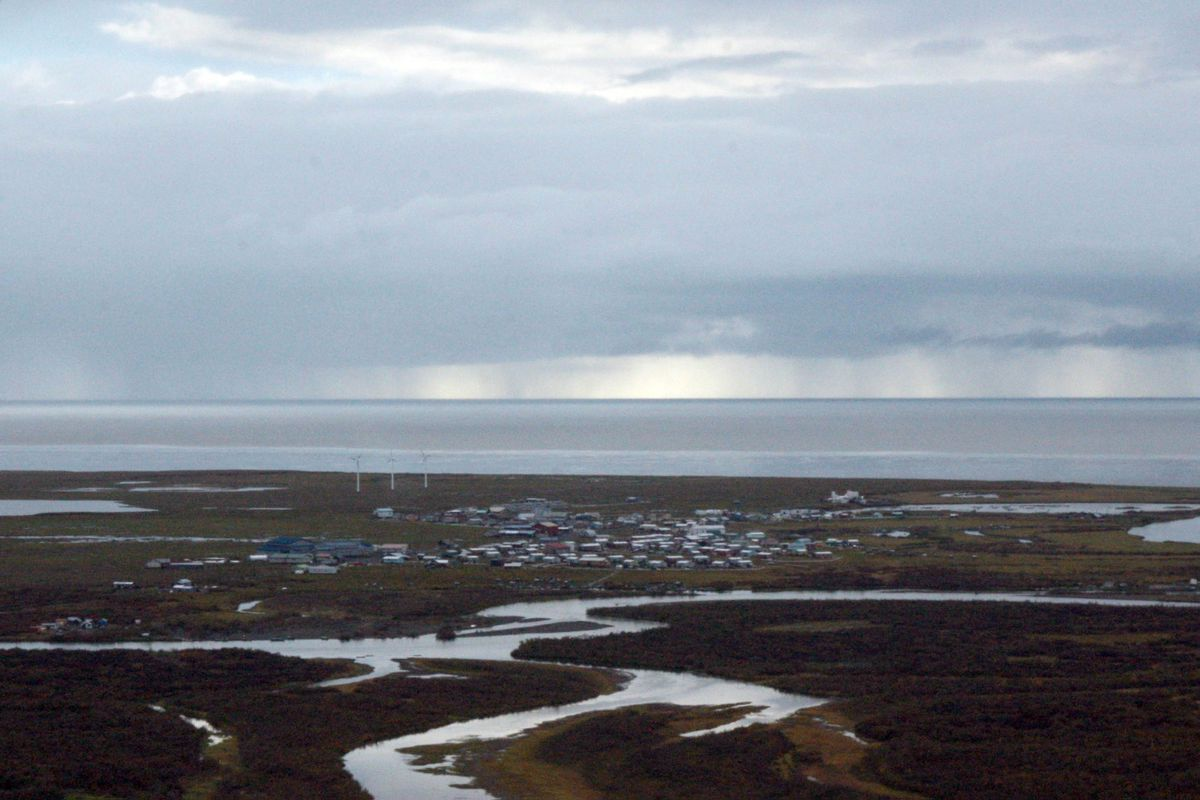 The Southwestern Alaska village of Quinhagak is seen from the air on Sept. 14, 2016. (Lisa Demer / ADN archive)