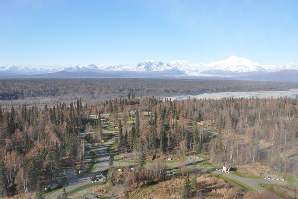 An aerial of the K'esugi Ken Campground in Denali State Park in Oct. 2014. (Alaska State Parks)