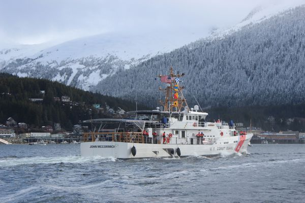 The Coast Guard Cutter John McCormick (WPC 1121) and crew make way to their home port at Coast Guard Base Ketchikan in Ketchikan, Alaska, March 217, 2017. The Fast Response Cutter McCormick and its crew completed a 6,200-mile trip from Key West, Florida. (U.S. Coast Guard photo.)