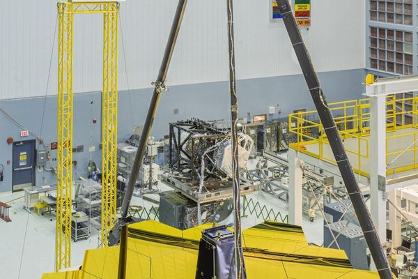 The gold-covered primary mirrors of the James Webb Space Telescope are revealed at NASA's Goddard Space Flight Center in Maryland.
