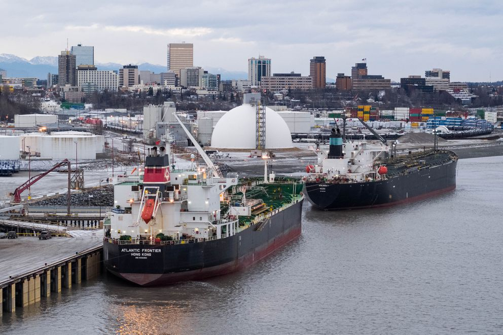 Tankers Atalanta T and Atlantic Frontier offload a combined 525,000 barrels of jet fuel at the Port of Alaska on Nov. 16. (Loren Holmes / ADN)
