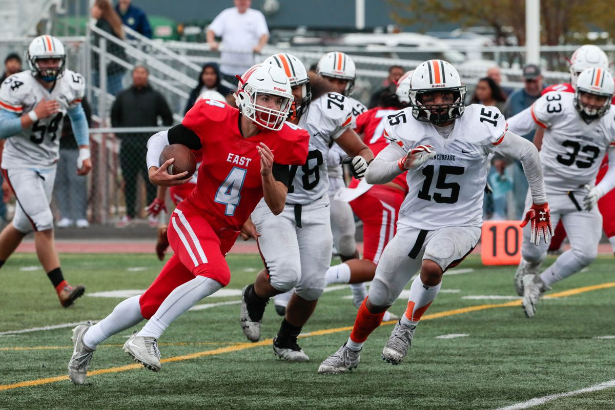 Quarterback Gavin Oakley and the East Thunderbirds can clinch the Cook Inlet Conference title Saturday with a win over South. (Loren Holmes / ADN)