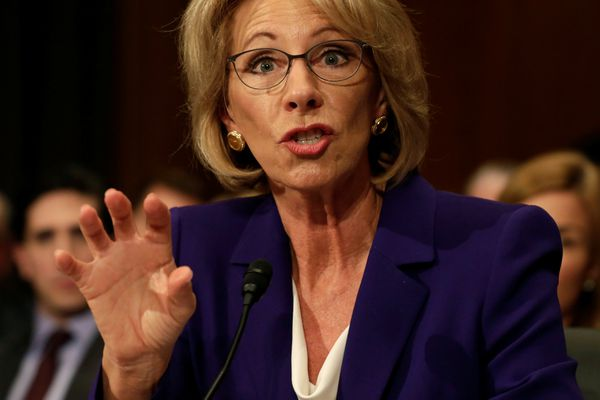 Betsy DeVos testifies before the Senate Health, Education and Labor Committee confirmation hearing to be next Secretary of Education on Capitol Hill in Washington, U.S., January 17, 2017. REUTERS/Yuri Gripas