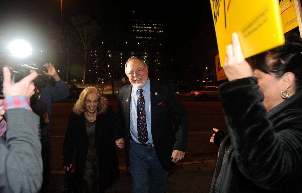 US Representative Don Young and his wife Anne arrive at Election Central in the Egan Center on Tuesday, Nov. 6, 2018. Young won reelection defeating Alyse Galvin. (Bob Hallinen / ADN)