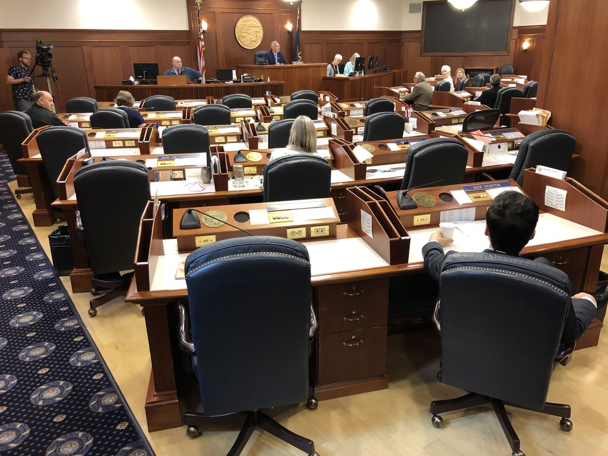 Empty seats are seen Tuesday, July 9, 2019 as the Alaska House of Representatives holds a technical session in Juneau. (James Brooks / ADN)