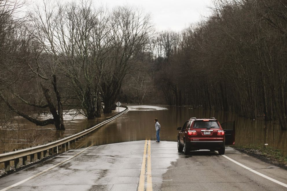 Vinton County often deals with high water at the end of winter. Located in rural Appalachian southern Ohio, Vinton also was flooded with opioids, affecting life there. (Andrew Spear for The Washington Post)