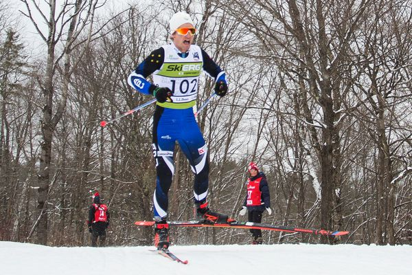 David Norris, an APU skier from Fairbanks, powers his way to his first national championship Sunday in Craftsbury, Vermont. (Photo by Logan Hanneman)
