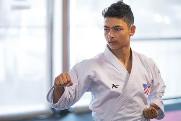 Rickyjon Balgenorth practices the Kata Chatanyara Kushanku at Okamoto's Karate on Wednesday, July 31, 2019 in Anchorage. Balgenorth, a rising sophomore at South High, is competing in the Junior Pan American Championships in late August in Ecuador. (Loren Holmes / ADN)