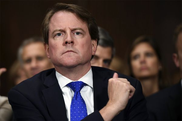 FILE - In this Sept. 27, 2018, file photo, then-White House counsel Don McGahn listens as Supreme court nominee Brett Kavanaugh testifies before the Senate Judiciary Committee on Capitol Hill in Washington. After years of trying, the House Judiciary Committee is set to question McGahn on June 4, 2021, two years after House Democrats originally sought his testimony as part of investigations into former President Donald Trump. (Saul Loeb/Pool Photo via AP, File)