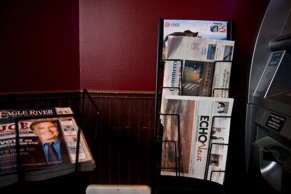 A copy of ECHO News appears on a rack at an Eagle River coffee shop on Wednesday, November 30, 2016. (Marc Lester / Alaska Dispatch News)