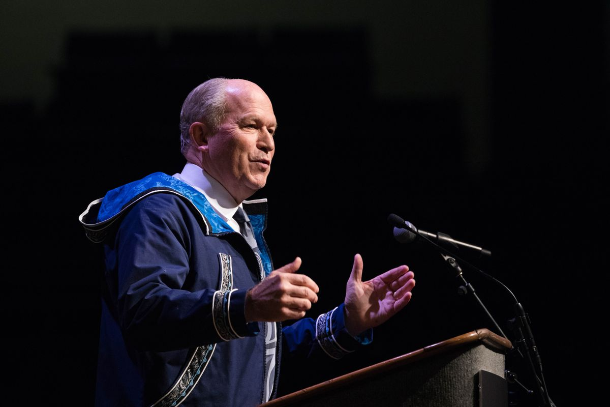 Alaska Governor Bill Walker addresses delegates on the first day of the Alaska Federation of Natives convention at the Carlson Center in Fairbanks on Thursday, Oct. 20, 2016. (Loren Holmes / Alaska Dispatch News)