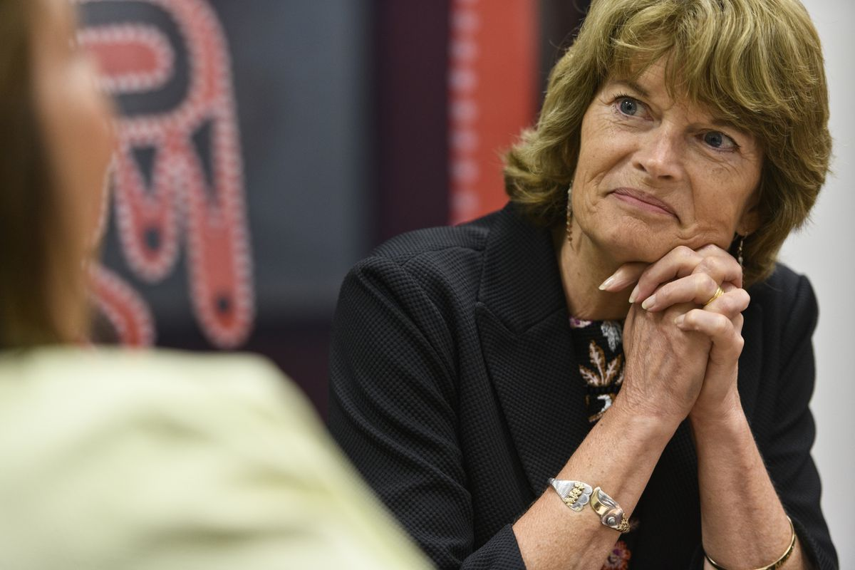 Sen. Lisa Murkowski talks with Julie Anderson, commissioner of the Alaska Department of Commerce, Community and Economic Development, in the senator's Washington office on June 18, 2019. (Marc Lester / ADN)