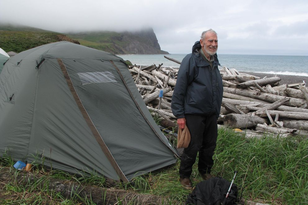 Biologist Dave Klein on St. Matthew Island in 2012. (Photo by Ned Rozell)