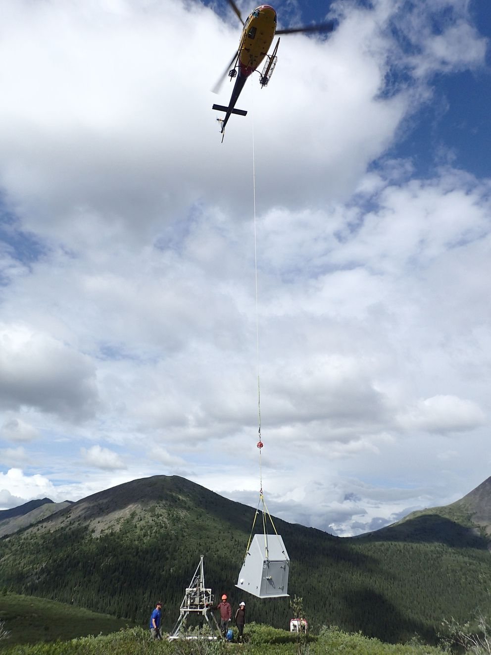 A transportable USArray seismometer station was installed July 26-27, 2016, along Somme Creek in the Yukon. (Photo by Jeremy Miner / Incorporate Research Institutions for Seismology)
