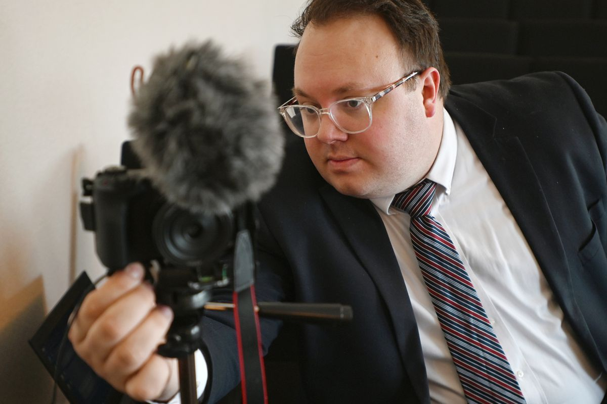 Pastor Derrick Seagraves of The Sanctuary Church of Eagle River had his service video taped on Sunday, March 22, 2020, so it could be later viewed on YouTube and Facebook. (Bill Roth / ADN)