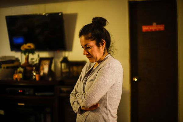 Elisa Yepez Oregel at her home in Dimond Estates Mobile Home Park one October morning, 2020. (Photo by Jeff Chen / Alaska Public Media) ONE TIME USE