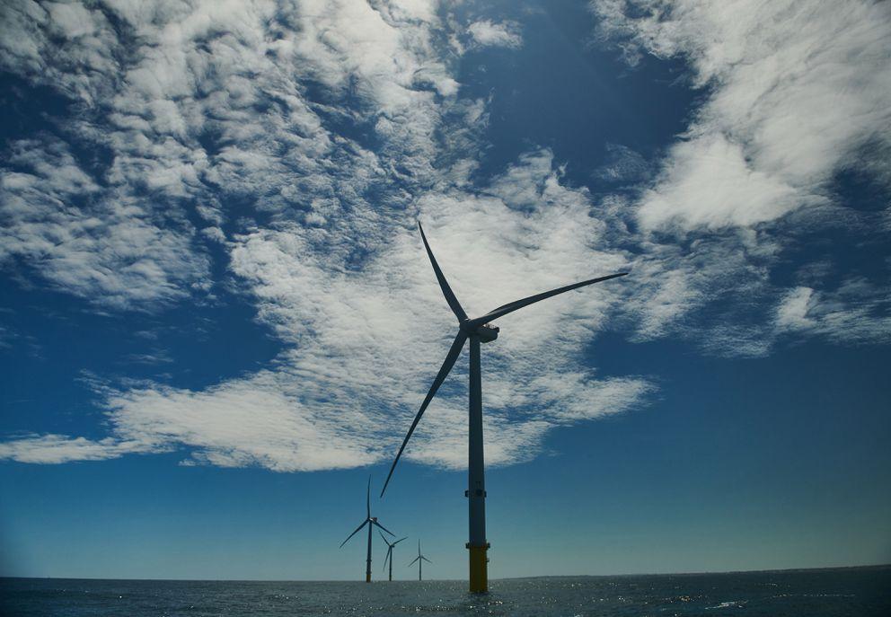 Wind turbines at an offshore wind farm in Britain. Matthew Lloyd/Bloomberg