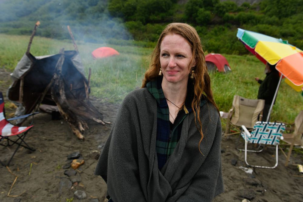 Jillian Malone helped organize the Alaska Heathenry solstice gathering on the beach in Ninilchik. Alaska Heathenry members camped on the beach in Ninilchik for their annual midsummer gathering. Photographed on June 21, 2018.(Marc Lester / ADN)