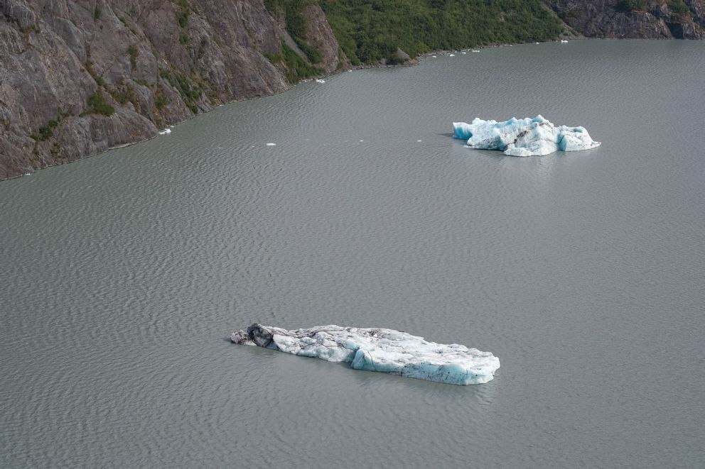Two large icebergs float in Portage Lake Wednesday, Aug. 14, 2019. (Loren Holmes / ADN)