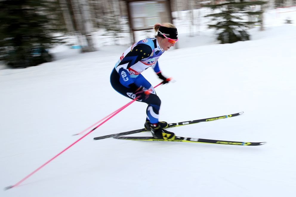Kikkan Randall competes during the skating half of the race on her way to a second place finish during the Doyon Utilities USSA SuperTour Skiathlon Finals Monday evening March 27, 2017 at Birch Hill Recreation Area. (Eric Engman/News-Miner)