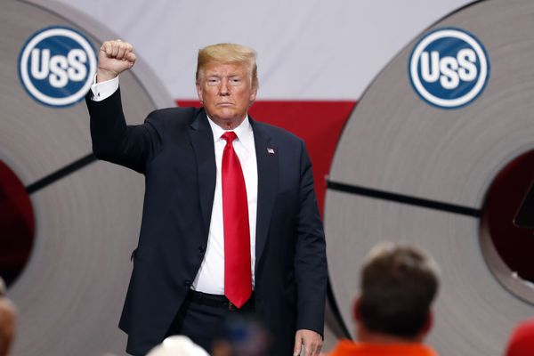 In this July 26, 2018, photo, President Donald Trump acknowledges the audience after speaking at the United States Steel Granite City Works plant in Granite City, Ill. Trump's trade policies are turning long-established Republican orthodoxy on its head. There are tariff fights, and there's now $12 billion in farm aid that represents the type of government intervention GOP voters railed against a decade ago. (AP Photo/Jeff Roberson)