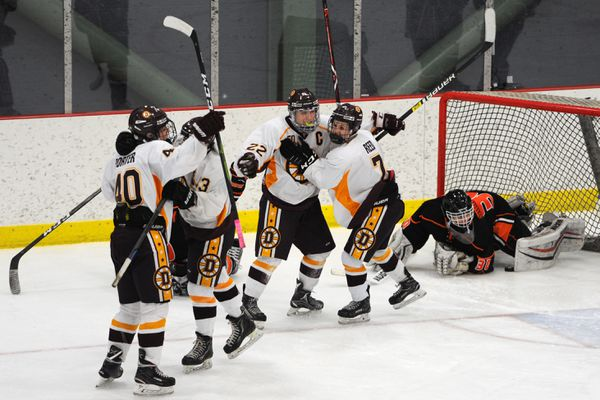 Dimond captain Dylan Hoey (22) celebrates scoring the game winning goal as the Lynx defeated the West High Eagles 3-2 during the opening game of the state hockey championships at the Menard Center in Wasilla on Thursday, Feb. 7, 2019. (Bill Roth / ADN)