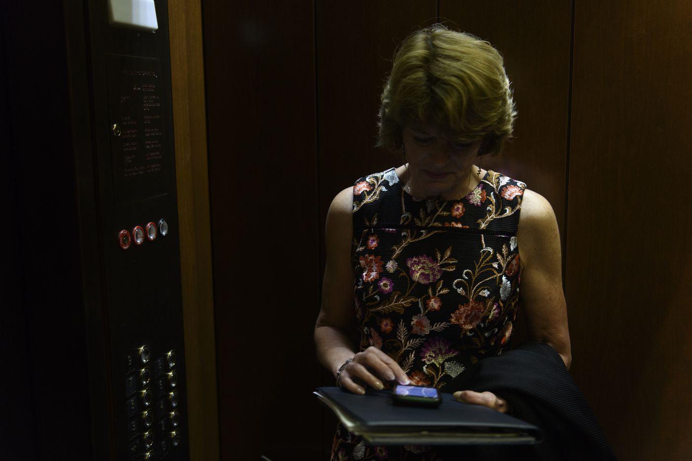 Sen. Lisa Murkowski rides a senators-only elevator toward voting in the Senate chamber on June 18, 2019. (Marc Lester / ADN)