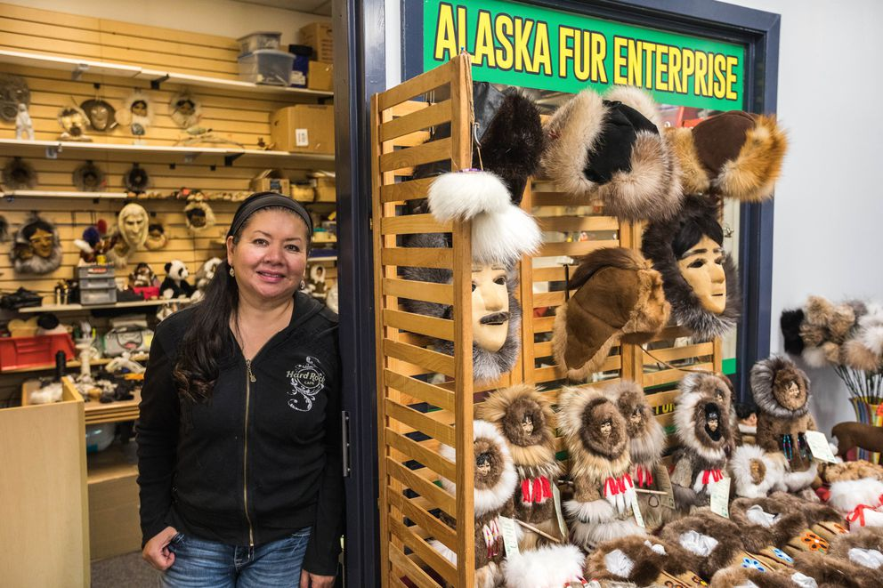 Lorena Hernandez, owner of Alaska Fur Enterprise, says she has been a tenant at the 4th Avenue Market Place for 15 years. (Loren Holmes / ADN)