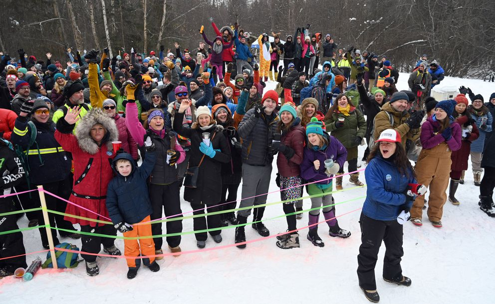 Trailgate parties attract big crowds in Anchorage during the Iditarod ceremonial start. (Anne Raup / ADN archive)