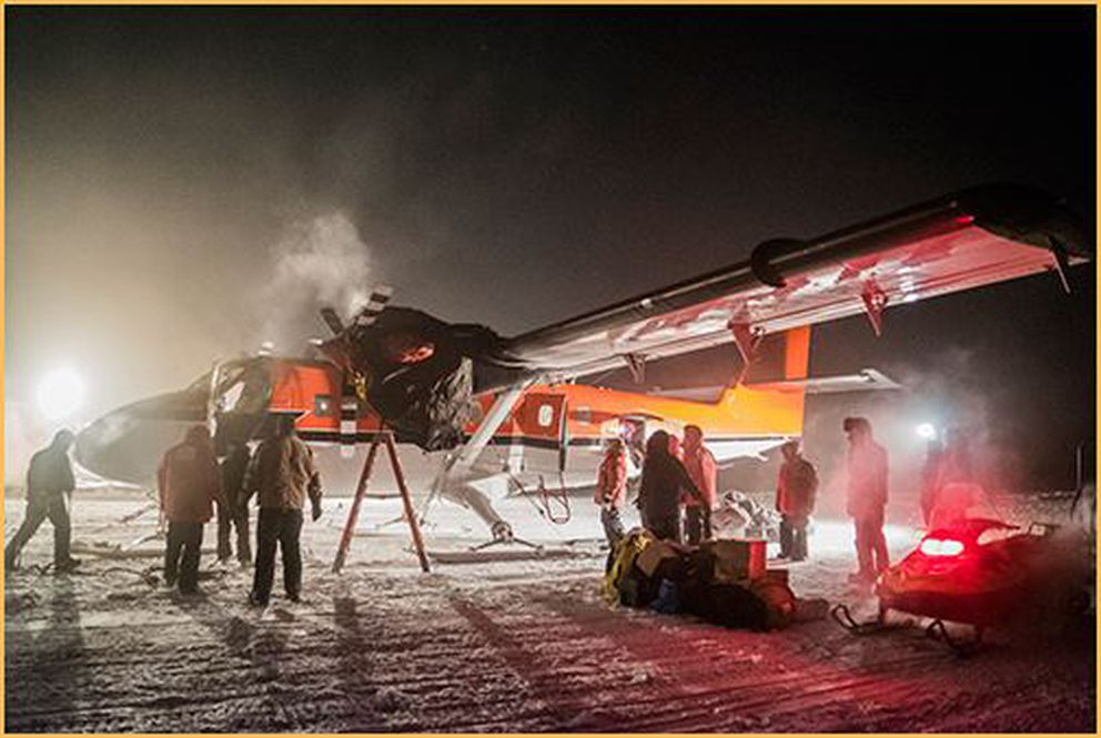 The Twin Otter aircraft flying an Antarctic medical-evacuation mission in late June prepares to depart.(Robert Schwarz, National Science Foundation)