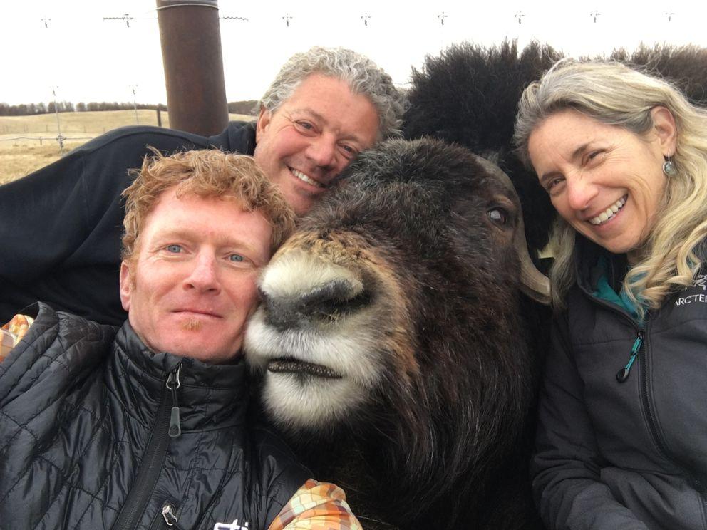 Alaska 'Rickshaw Run ' participants David Shuman (left), Mark Austin and Melanie Duchin. (The Musk Ox gets to stay behind and mind the farm.) (Photo by David Shuman)