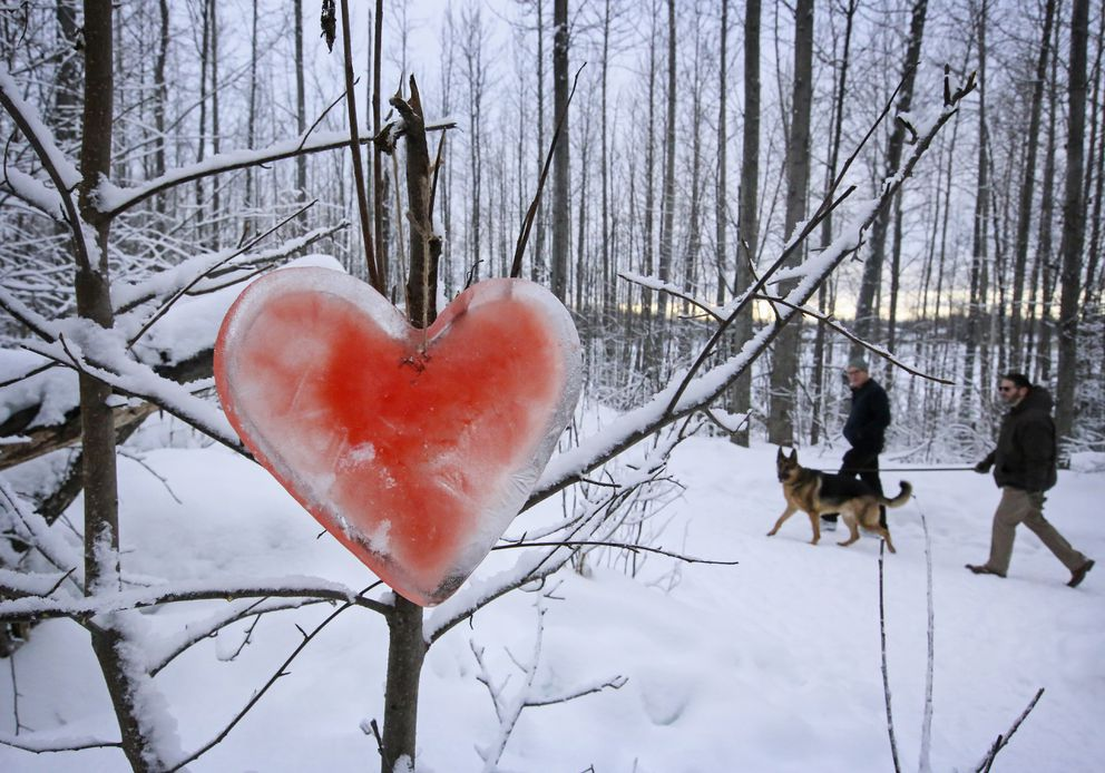 People walk by a heart made from ice as it hangs on a tree along the Cheney Lake trail. (Emily Mesner / ADN)