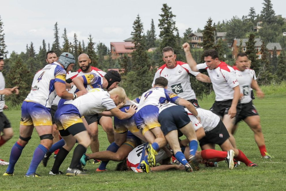 Rugby teams from Canada, Colorado and New Zealand played at the Alaska Mountain Rugby Grounds last weekend. (Loren Holmes / Alaska Dispatch News)