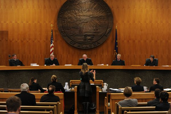 Assistant Attorney General Laura Fox argues the state's position on the disputed Democratic primary election before the Alaska Supreme Court on Wednesday, Oct. 12, 2016. (Bill Roth / ADN archive)