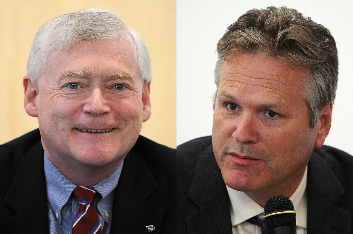 Mead Treadwell and Mike Dunleavy are Republican candidates for governor of Alaska, 2018. (Bob Hallinen / ADN archives)