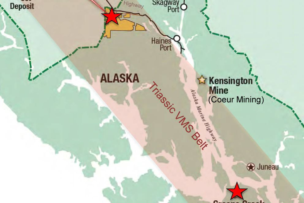 The Palmer multi-metals deposit being evaluated by Vancouver-based Constantine and Dowa Holdings, a Japanese metal manufacturer, is adjacent to the Alaska-Canada border and near the Haines Highway about 40 miles northwest of Haines. (Constantine Metal Resources)