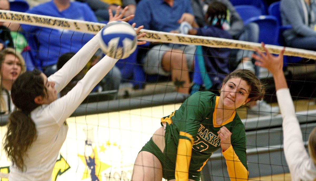 Vanessa Hayes of UAA, right,watches her shot during first set action of the GNAC volleyball match between the Seawolves and the UAF Nanooks Tuesday evening, September 12, 2017 at the Patty Center in Fairbanks. (Eric Engman / News-Miner)