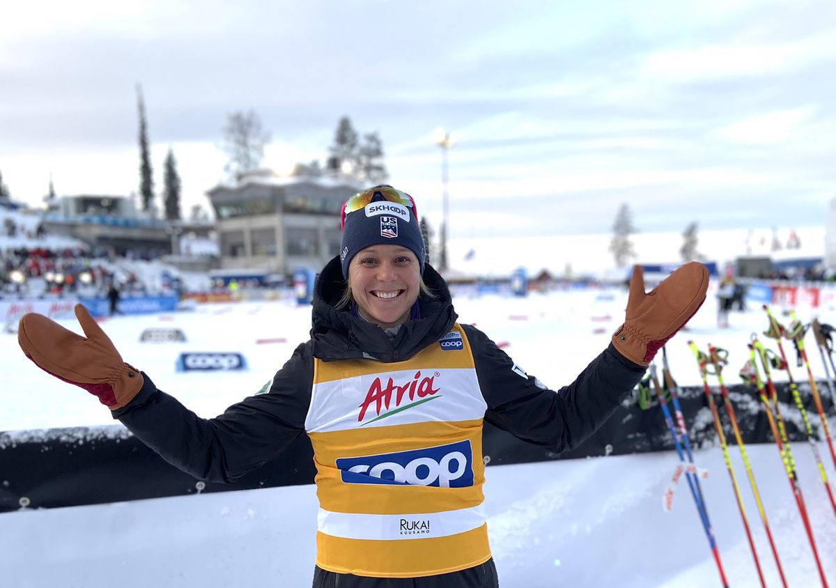 Sadie Maubet Bjornsen is the first American woman ever to wear the overall FIS Cross Country World Cup leader's bib. (U.S. Ski & Snowboard)