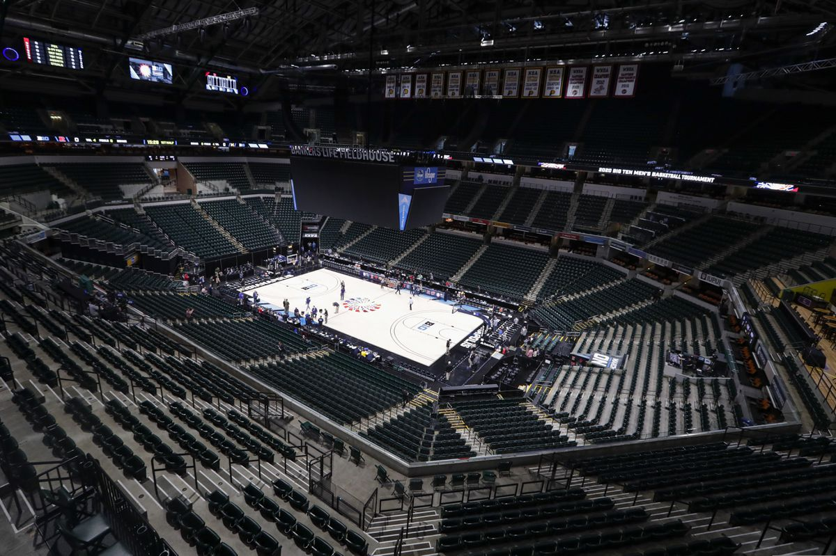 This photo shows the seating area at Bankers Life Fieldhouse, Thursday, March 12, 2020, in Indianapolis, after the Big Ten Conference announced that remainder of the men's NCAA college basketball games tournament was canceled. (AP Photo/Michael Conroy)