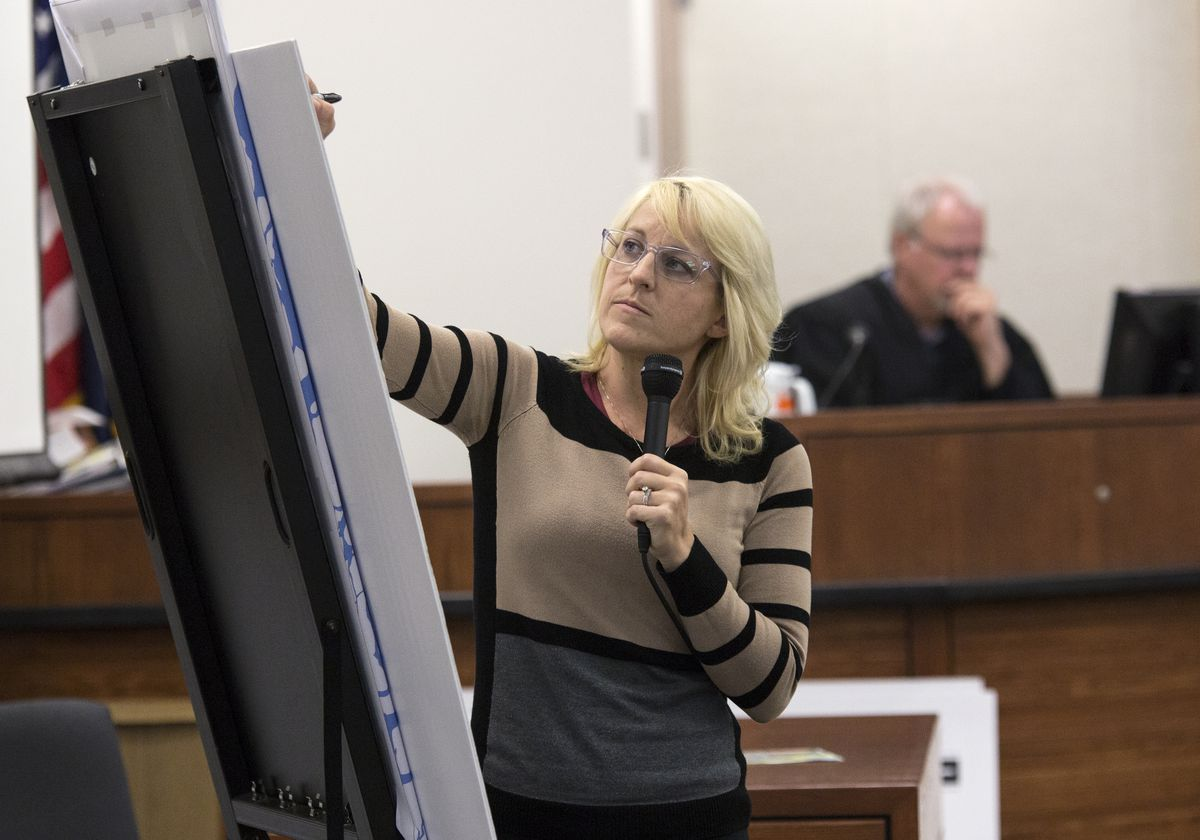 Defendant Amy DeWitt testifies in Palmer on Monday. Dewitt and Greg Imig are standing trial after having been charged with starting the Sockeye Fire in Willow on Sunday, June 14, 2015. (Rugile Kaladyte / Alaska Dispatch News)