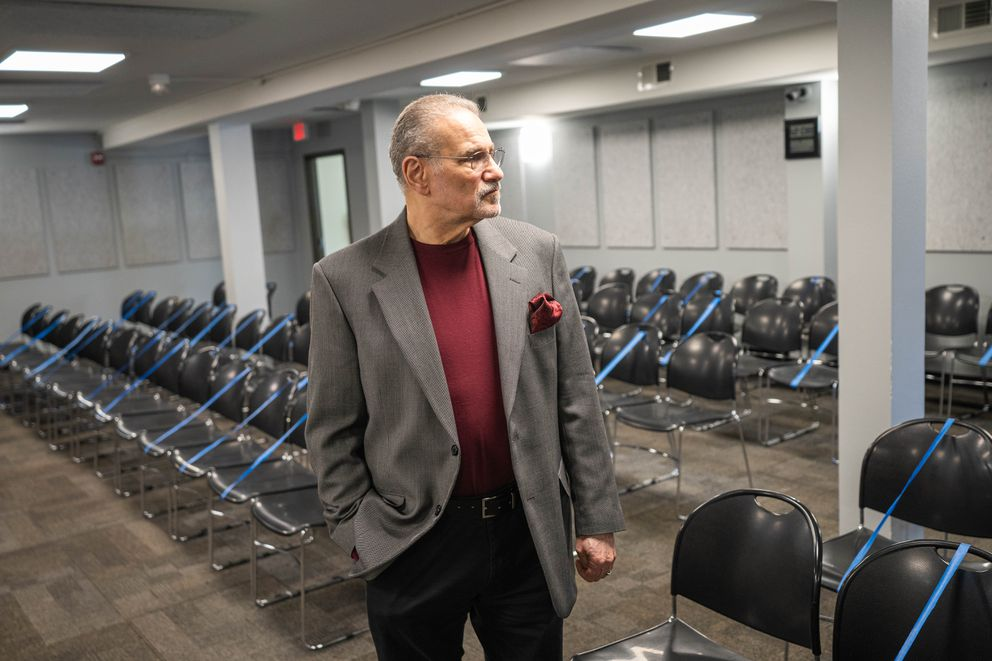 Anchorage Gospel Rescue Mission pastor John LaMantia at the Midtown shelter on Thursday, April 9, 2020. The shelter normally provides space for 100 homeless people to sleep, but has reduced that number due to concerns about the novel coronavirus. (Loren Holmes / ADN)