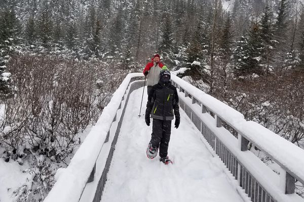 The extensive boardwalks and bridges along the Trail of Blue Ice make for a fun, 4-season family adventure in Portage Valley. (Erin Kirkland)
