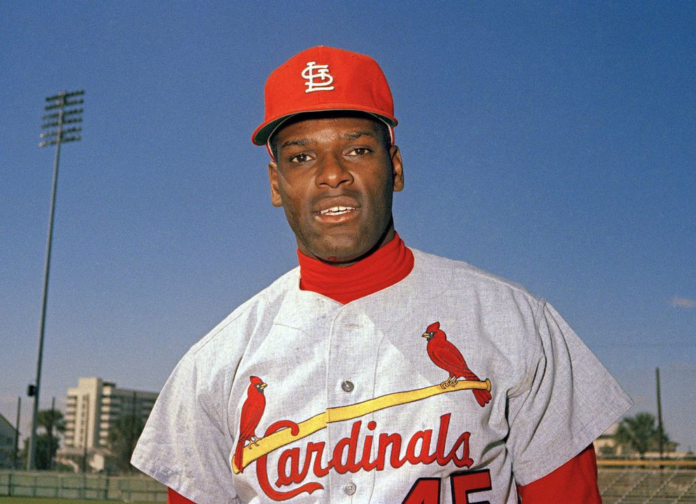 FILE - In this March 1968 file photo, St. Louis Cardinals pitcher Bob Gibson is pictured during baseball spring training in Florida. Gibson, the dominating pitcher who won a record seven consecutive World Series starts and set a modern standard for excellence when he finished the 1968 season with a 1.12 ERA, died Friday, Oct. 2, 2020. He was 84. (AP Photo, File)