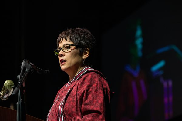 Cook Inlet Region, Inc. President and CEO Sophie Minich addresses delegates Friday, Oct. 18, 2019 during the Alaska Federation of Natives convention at the Carlson Center in Fairbanks. Minich was explaining why CIRI was supporting Gov. Mike Dunleavy's recall campaign. (Loren Holmes / ADN)