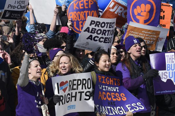 Pro-abortion rights protesters rally outside the Supreme Court in Washington, Wednesday, March 2, 2016. The abortion debate returned to the Supreme Court in the midst of a raucous presidential campaign and less than three weeks after Justice Antonin Scalia's death. The justices heard the biggest case on the topic in nearly a quarter century and considering whether a Texas law that regulates abortion clinics hampers a woman's constitutional right to obtain an abortion. (AP Photo/Susan Walsh)