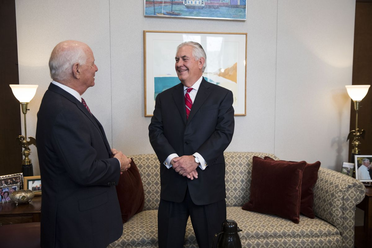 Rex Tillerson, chief executive of Exxon Mobil and President-elect Trump's choice for secretary of state, meets with Sen. Ben Cardin (D-Md.), ranking member of the Senate Foreign Relations Committee, on Capitol Hill, in Washingtonon Jan. 4. (Doug Mills/The New York Times)