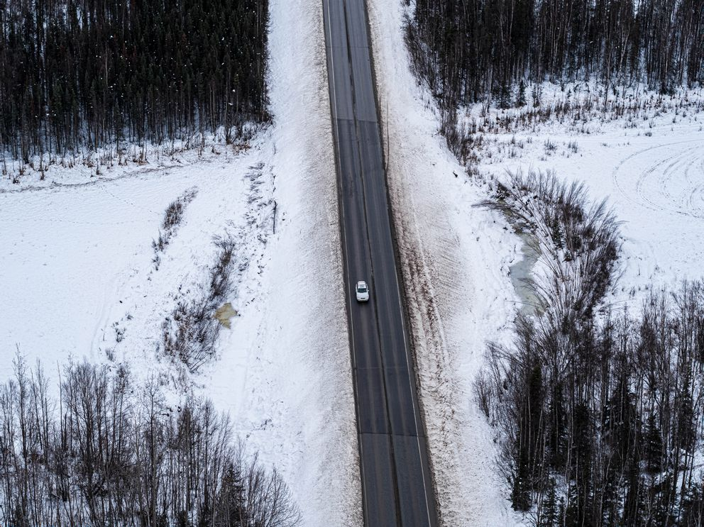 Vine Road, south of Wasilla, photographed on Wednesday, Nov. 20, 2019. (Loren Holmes / ADN)