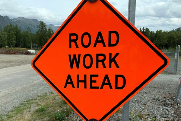 Construction has begun on Phase 2 of the Glenn Highway Capacity Improvement Project, which will create a new bridge crossing over the Eagle River and turn Eagle View Drive into a frontage road. Photo taken Aug. 4, 2019. (Matt Tunseth / Chugiak-Eagle River Star)